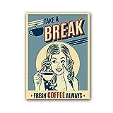 QZHSCYB Cartel de café Vintage para Mujer, decoración de Cocina, Cartel de café para niña, Arte de Pared Retro, Pintura en Lienzo, Imagen de Restaurante, 50x70 cm (sin Marco)