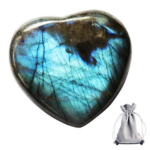 CASMON Natürlicher Labradorit-Kristallquarzstein mit Kordelzugbeutel, poliert, unregelmäßig, für Sammlung, Chakra-Heilung, Heimdekoration, Geschenke