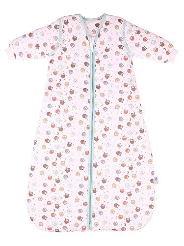 Schlummersack Babyschlafsack Ganzjahres-Variante MIT ABNEHMBAREN Ärmeln in 2.5 Tog - Eule - 110 cm / 12-36 Monate mitwachsend
