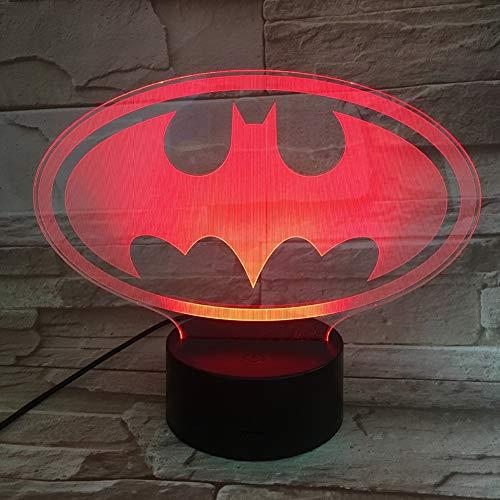 SXMXO Lumière De Nuit 3D 3D LED DC Batman Symbole Lumière Nuit Table De Bureau Lampe 7 Changement De Couleur Lampe De Poche USB RGB Controler Jouet Enfants Cadeau,5color+Bluetoothaudio