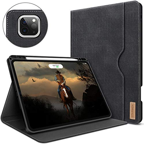 Case for iPad Pro 11 Inch 2nd Generation 2020&2018 with Pencil Holder Folio Leather Stand Smart Cover with Pocket Auto Sleep/Wake Support 2nd Gen iPad Pencil Wireless Charging (Crow Black)