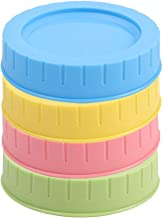 uxcell 4 Pack Colored Plastic Regular Mouth Mason Jar Lids with Sealing Rings Food Storage Caps for Mason Canning Ball Jars