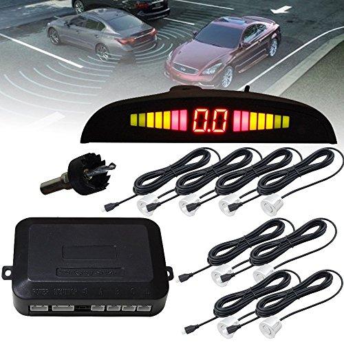 Hengda® Auto Parksystem Einparkhilfe PDC Rückfahrwarner Rückparkhilfe (8er Einbau-sensoren Silber)