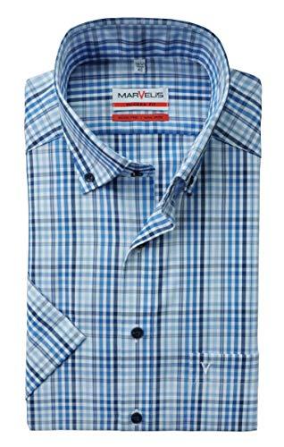 Marvelis Camisa de manga corta de corte moderno, color blanco, azul/blanco, 44