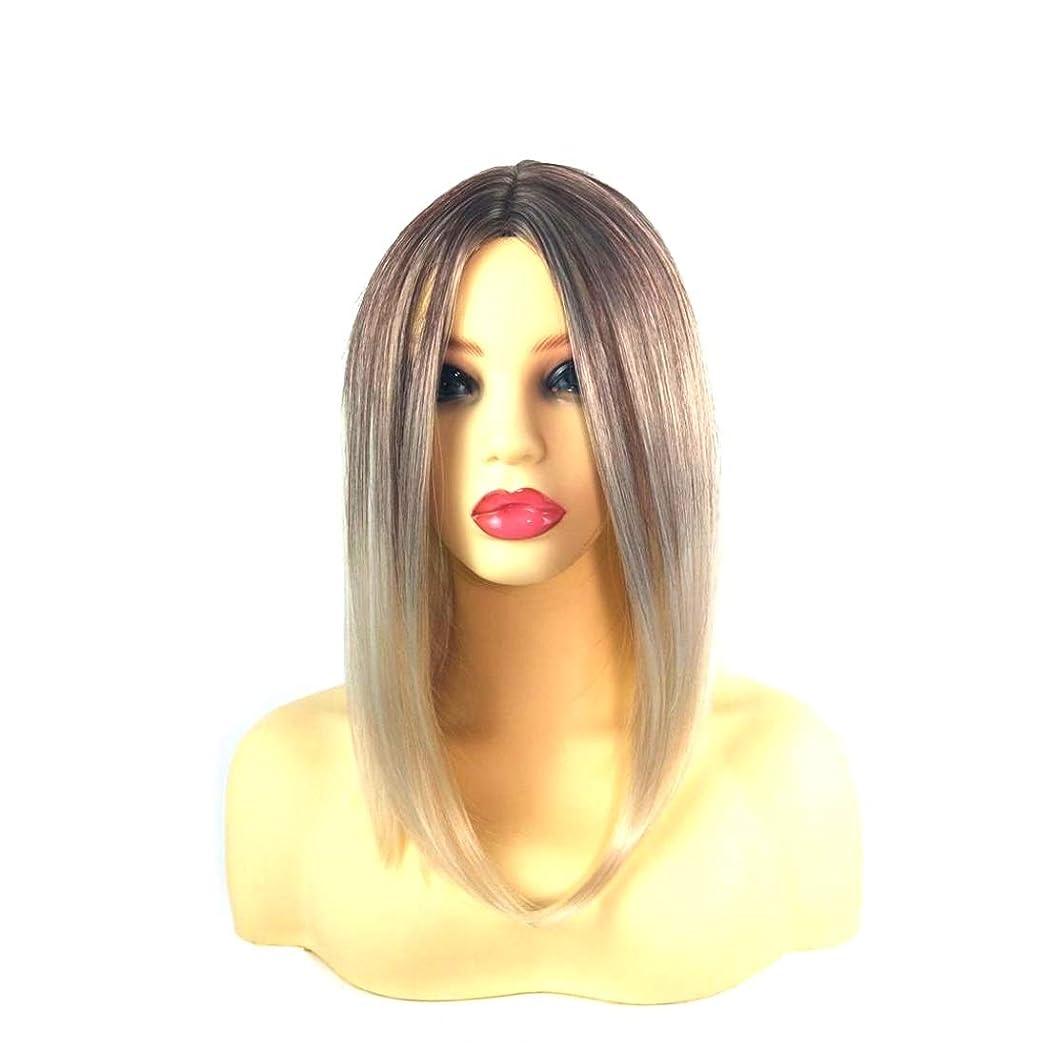 隙間半径ニックネームSummerys 女性のための前髪の短いストレートの髪の黒のグラデーションライスホワイトウィッグヘッドバンド