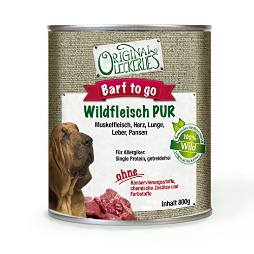 Original-Leckerlies: Wildfleisch PUR, 12 x 800g, 100% Wildfleisch und Wildinnereien, ohne Brühe oder künstliche Zusätze, Nassfutter, Hundefutter, Naturprodukt für Hunde, barfen