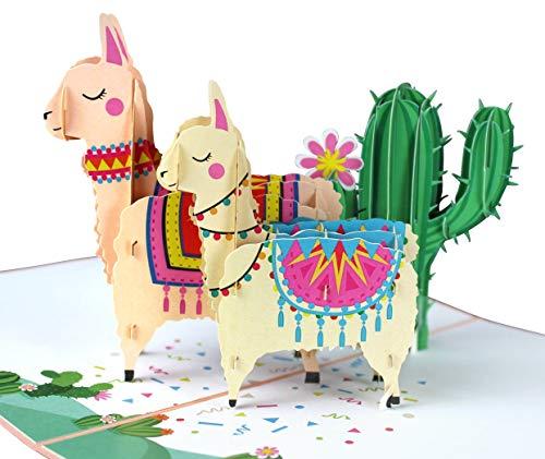 MOKIO® Pop-Up Karte – Lamas mit Kaktus – 3D Geschenkkarte zum Geburtstag, als Gutschein oder für Geldgeschenke, handgefertigte Klappkarte mit Umschlag