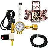 CO2 Regulator by Carbon Accelerator for C02 Tanks - Gauge for Pressure and Flow Meter with 120v Plug for Solenoid Valve for Grow Rooms, Tents, and Works with PPM Controllers and Timers
