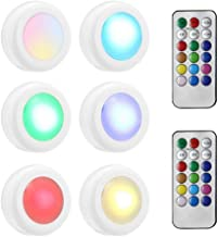 RGB Puck Light, Lesgos Color Changing Led Under Cabinet Lighting With Remote Control, Battery Operated Tap Night Lights For Kitchen Bedroom Classroom Hallway Closet Wardrobe Under Counter