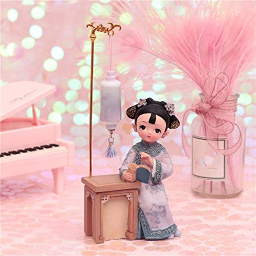 WLJBD lámpara de Pared, Titular Desktop Offic Decor Puppet Adornos pequeños Regalos con características Chinas Traje Muñecas Estatua Lectura Bajo la lámpara Bookshelf Decoración de Escritorio
