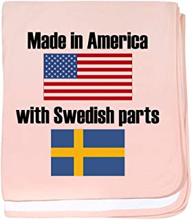 CafePress Made in America with Swedish Parts Baby Blanket, Super Soft Newborn Swaddle