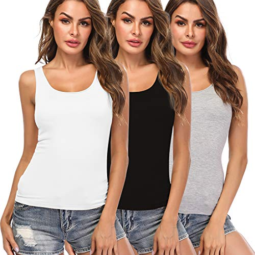 Camisoles for Women with Built in Bra,Basic Layering Tank Top Comfortable Padded Bra cami, Wide Straps Tank Top for Yoga 3 Pack Black White Grey XXL