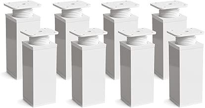 +20mm Vierkant-Profil: 40 x 40 mm Sossai MFV1-WH 4er Set   Material: Aluminium Holzschrauben inklusive Design-M/öbelf/ü/ße h/öhenverstellbar H/öhe: 100mm Farbe: Wei/ß