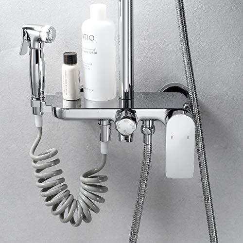 ubeegol Messing Duschsystem Duschset Regendusche inkl. Spritzpistole, Dusche Armatur, Kindersicherung Sicherheitsschloss, Überkopfbrause 20x30 cm, Handbrause, Ablage und Edelstahl Duschstange