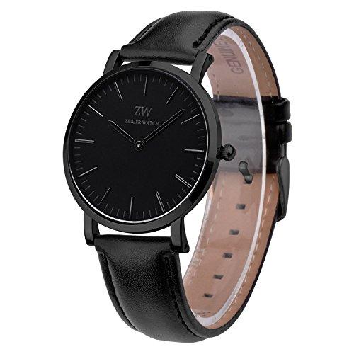 Reloj hombre piel Zeiger Reloj Hombre Negro Reloj Hombre Correa De Piel Negro W443 Reloj para hombre Mujer Reloj de cuarzo con esfera negro blanco marron reloj hombre Luxe