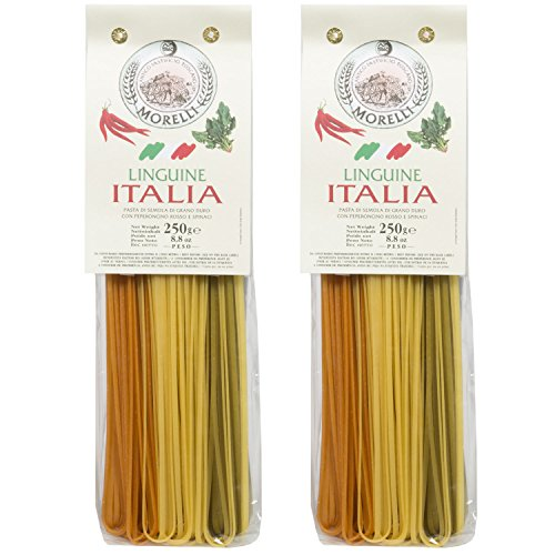 Pastificio Morelli Pasta Italia - Linguine Tri-color Pasta Imported from Italy (pack of 2)