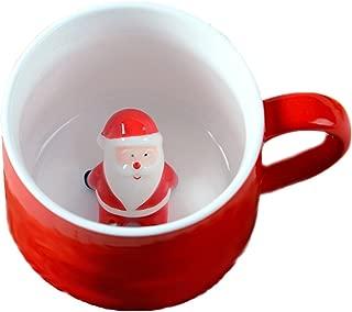 ZaH 3D Mug Animal Inside Cup Cartoon Ceramics Figurine Teacup Christmas Birthday Gift for Boys Girls Kids Women Men Coffee Mug (10 oz Santa Claus)