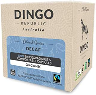 80 Decaf Biodegradable Pods for Nespresso* | Organic Fairtrade Coffee in Compostable Capsules | Swiss Water by Dingo Republic