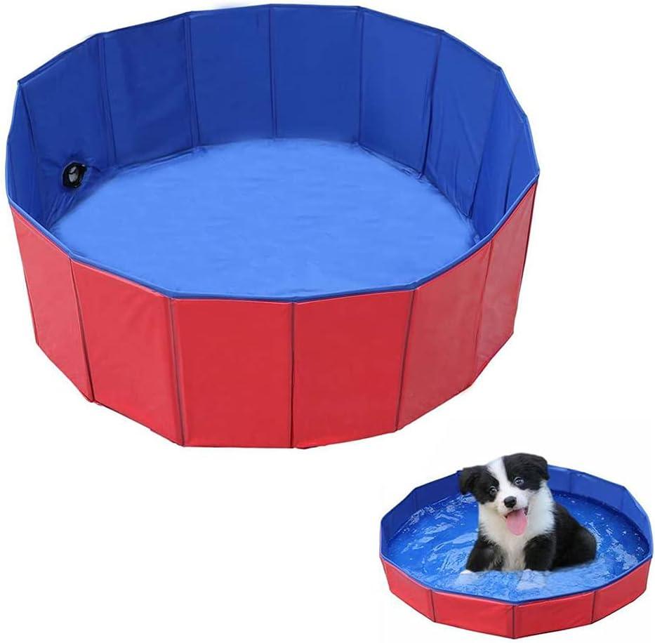 Piscina para Mascotas, Piscina Plegable para Perros, Antideslizante Piscina para Mascotas, Vpc Es Plegable y Portátil Bañera para Perros para Mascota Perro, Gato Baño Interior y Exterior (Rojo y Azul)