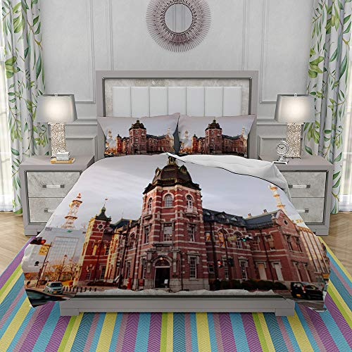 REIOIYE Duvet Cover Set-Bedding,Red Brick Building Bank Of Iwate In Morioka City At Evening With Sunset Light,Quilt Cover Bedlinen-Microfibre 200x200cm with 2 Pillowcase 50x80cm