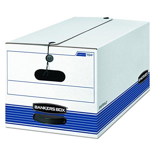 Bankers Box Datei mittelschweren Aufbewahrungsboxen mit String und Button, Buchstabe 12-Pack weiß / blau