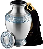 HIGH QUALITY – Handcrafted with fine detailing. Silver with blue detailing and polished finish. DURABLE – Our urn is sturdy and enduring thanks to its thick aluminum design. The structure of beauty of the urn is guaranteed to withstand accidental dro...