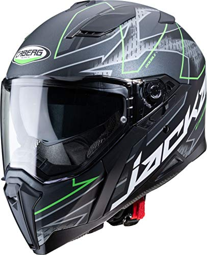 Caberg - Casco Jackal Techno Matt, color negro/antracita/verde fluorescente, talla XS M matt black/anthracite/green fluo