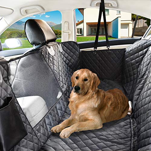 Nat-Hom Dog Seat Cover with View mesh, Pet Seat Cover Zipper Pockets Dog Car Seat Covers Cars, Trucks Suv's -Waterproof & Nonslip Backing-Black Standard