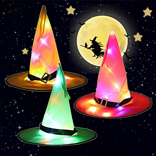 LED Witch Hat Lights Halloween Decorations Outdoor 4 Pcs Hanging Lighted Glowing Witch Hat Decorations, Halloween Witchs Hat Decor Light...