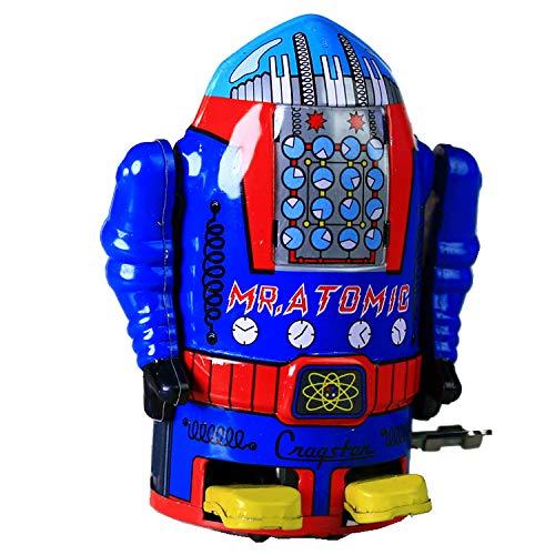 Ms632 Tin Robot Mr Atomic Robot Bleu Cragstan Vintage Antique Replica Windup