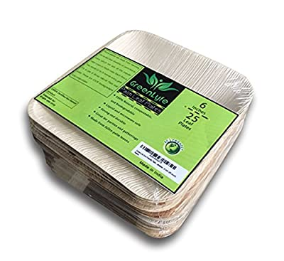GreenLyfe Eco-Friendly Palm Leaf Plates - 100% Natural, Compostable, Disposable Party and Dinner Leafplates - 6 inch