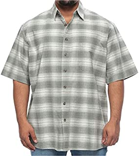 Harbor Bay Big and Tall Plaid Wrinkle Resistant Short Sleeve Shirt for Men - Sport Green