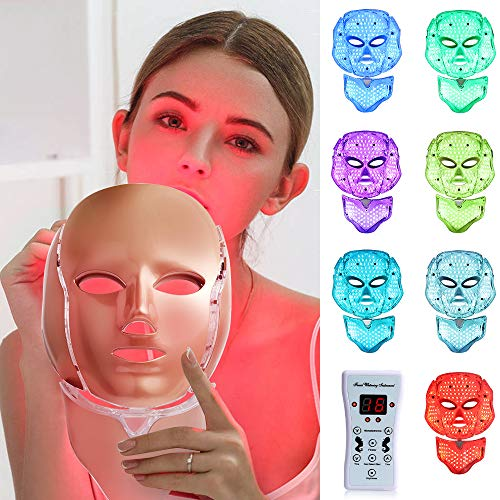Led Face Mâsk Light Therapy - 7 Color Skin Rejuvenation Therapy, LED Photon Face Mâsk Facial Skin Care Anti Aging Wrinkles Skin Tightening Wrinkles Toning Mâsk【NEW Upgraded】
