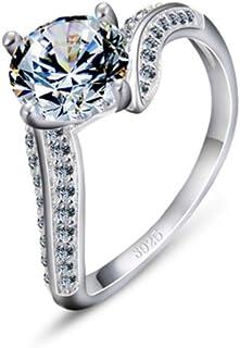 lem Abrillantador de anillosAnillos de Boda de Compromiso con Forma geométrica de Plata de Ley 925, Ideal para Amantes de ...