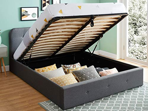 HOMIFAB Lit Coffre 160x200 cm Anthracite avec tête de lit + sommier à Lattes - Collection Kate