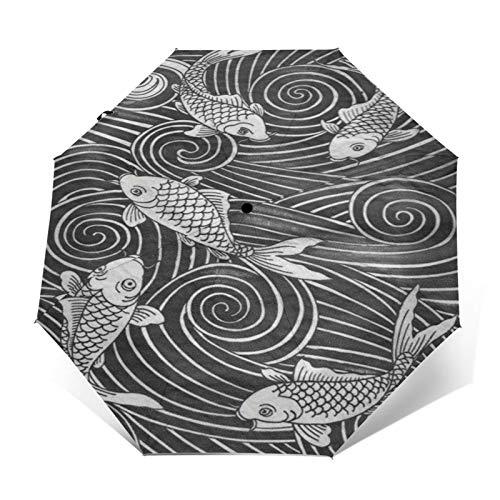 TISAGUER Paraguas automático de Apertura/Cierre,Imagen de Dibujo en Blanco y Negro de...