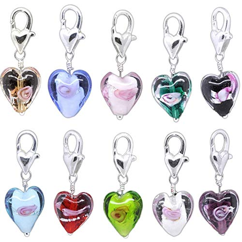 HooAMI 20PC Glass Heart Clip On Charm Fit Link Bracelet Necklace Jewelry w/Lobster Clasp