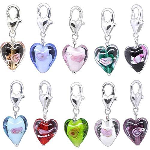 HooAmi, Ciondoli per bracciali o collane a forma di cuore in vetro, con chiusura a moschettone, 20 pezzi