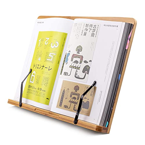 Large A+ Bamboo Book Stands & Holders for Reading Hands Free in Bed,Cookbook,Textbook,Law,with 5 Adjustable Height Laptop Stand