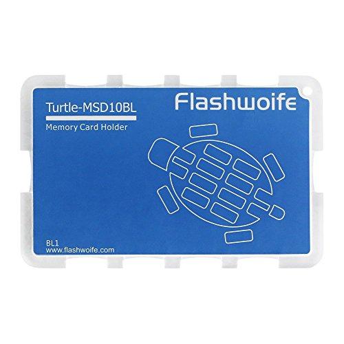 Flashwoife Turtle-MSD10BL Speicherkartenetui für 10 x MicroSD Aufbewahrungsbox im Kreditkarten-Format - transparent und blau