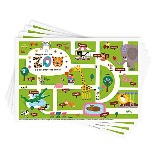 Disposable Stick-on Placemats 40 Pack for Baby & Kids, Restaurant Table Topper Mat 12' x 18' Sticky Place Mats,Toddler Baby Placemat Happy Zoo Theme