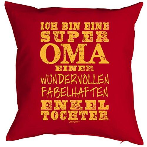 Cadeau pour Oma Coussin avec Rembourrage Je suis Une Super Oma. Petits-Enfants Fille Rembourrage pour Oma Cadeau d'anniversaire Cadeau de Noël Grand-mère Omi