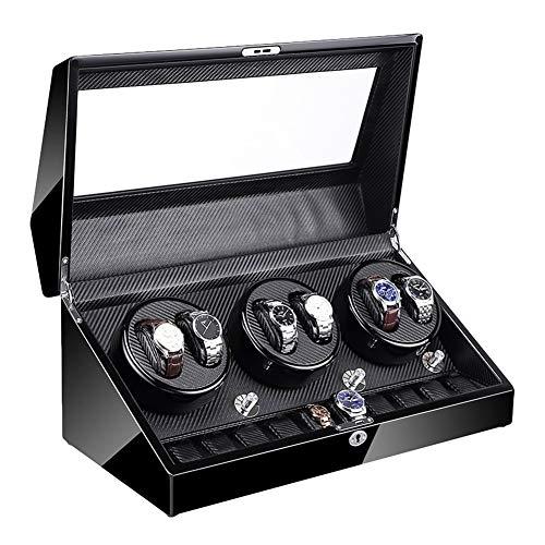AYYEBO Enrollador Reloj Automático 6 + 10 Motor Súper Silencioso con Retroiluminación LED Caja Enrolladora Reloj Exterior Pintura Piano 4 Modo Rotación (Color : C)