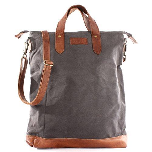 LECONI Shopper Leder + Canvas Vintage-Look Umhängetasche für Damen Henkeltasche große Beuteltasche DIN A4 Damentasche Handtasche 39x45x10cm LE0037-C, Grau / Braun,