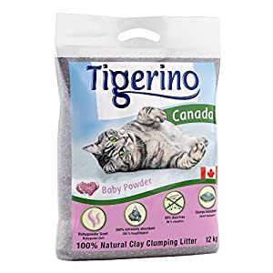 Tigerino Doppelpack Canada Katzenstreu, Babypuder 2x12kg 3
