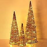 Luxspire LED Pyramide Kegelform Leuchte, 3 Stück Advent Deko Lichter Gewunden Reben Schneeflocken Laterne mit Timer Weihnachtslicht für Hause Weihnachten Dekoration Innen Außen Beleuchtung, Braun