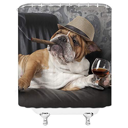 Lustiger H& Duschvorhang Niedlicher Welpe Braun Bulldogge mit Zigarre & Champagner Humor Haustiere auf Sofa Mode Natur Tier Kreativ Stoff Badezimmer Vorhang-Set 180 x 180 cm mit Haken Braun Grau …