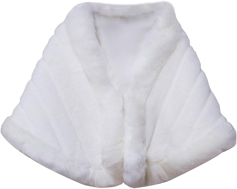 Liveinu Women Shawl Wrap Faux Fur Scarf Stoles for Wedding Dresses