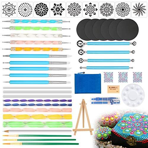 Mandala Dotting Tools Set - PGFUN 49 PCS Dot Painting Kit with Dotting Tools,Ball Stylus,Paint Tray and Brushes for Rocks Painting,Coloring,Nail Art,Drawing and Drafting