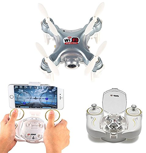 AICase Cheerson CX-10WD-TX Mini Drone WiFi FPV Remote Control Helicpoter Quadcopter with HD Camera 4CH 2.4GHz 6-axis Gyro Nano Altitude Hold Aircraft Multi-Color LED Light One Key Take Off/Landing
